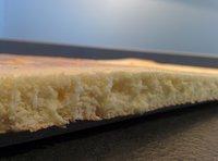 L'intérieur moelleux du biscuit cuillère.