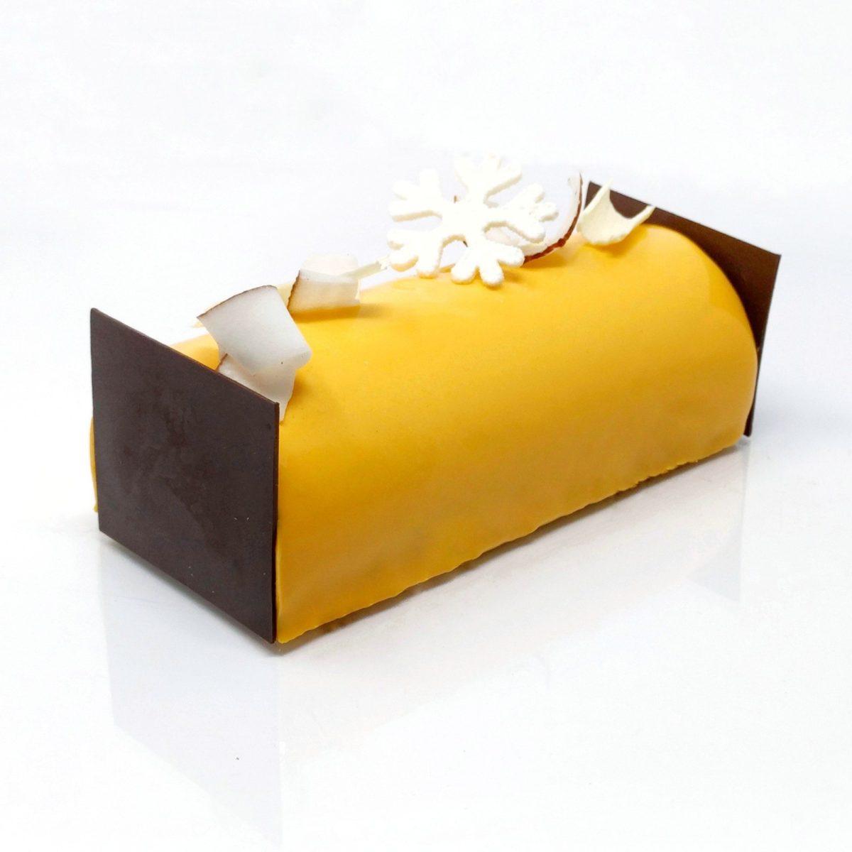 Bûche de noël fruits exotiques avec un insert crémeux à la vanille