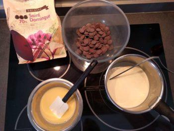 Préparer tous les ingrédients pour ce crémeux au chocolat