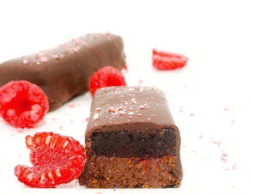 Barre chocolatée praliné noir framboise