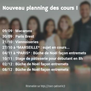 Agenda des ateliers de pâtisseries à Toulouse pour le seconde semestre 2018