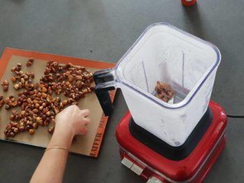 Briser les fruits caramélisés bien froids et les placer dans le robot avec sa cuve froide