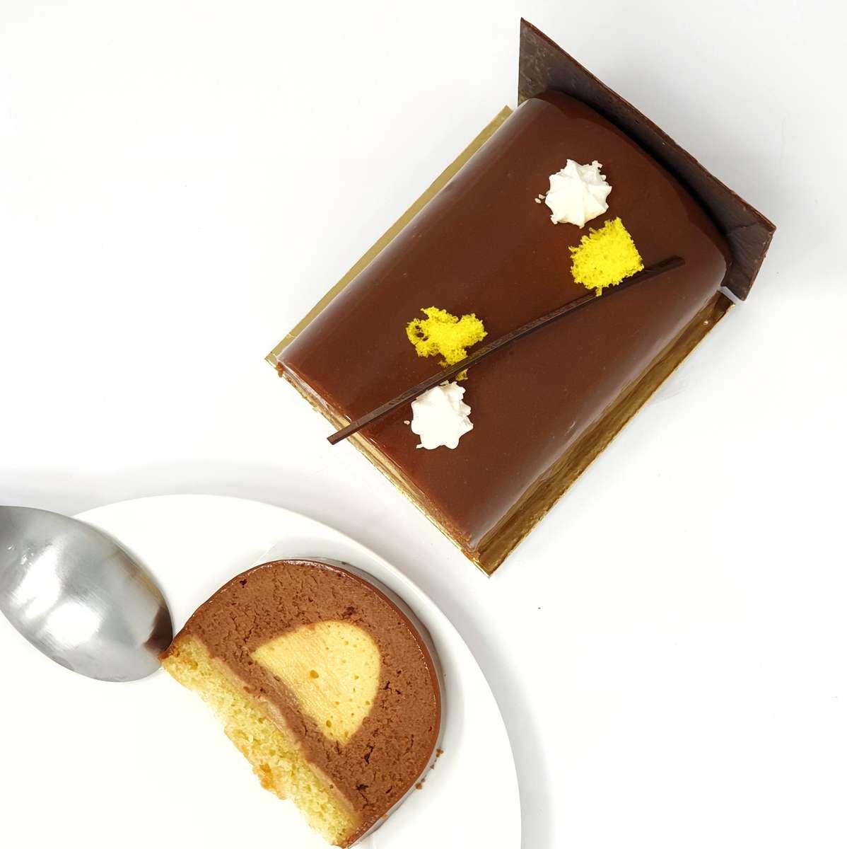 Recette de la bûche Chocolat au lait & Fruit de la passion