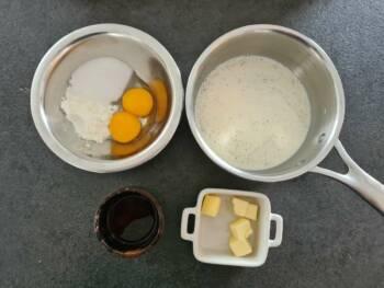 Commencer cette crème pâtissier spéciale gâteau basque en préparant tous les ingrédients.