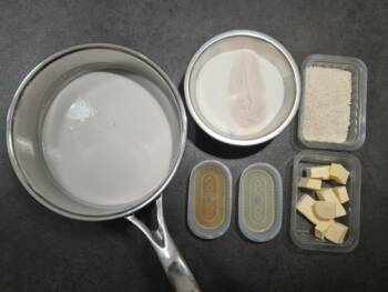 Préparer tous les ingrédients pour cette garniture de macaron noix de coco